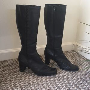 Shoes - Black soft leather boots - 2 inch heel